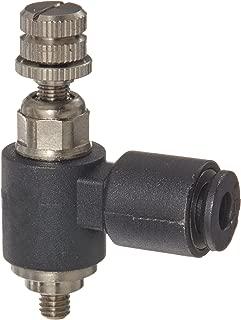 Legris 7669 03 09 Nylon Air Flow Control Valve, 90 Degree Elbow, Meter-In, External Screw, 3 mm Tube OD x M3 Metric Male
