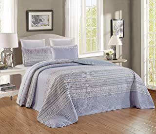3-Piece Fine Printed Chic Quilt Set Reversible Bedspread Coverlet Full/Queen Size Bed Cover (Light Blue, Grey Stripe)