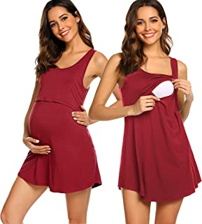 Avidlove Women Nursing Nightgown Pregnancy Sleeveless Maternity Nightshirt Breastfeeding Sleepwear