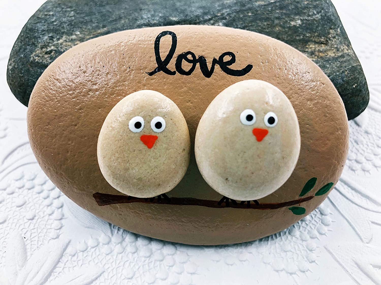 Lovebirds Large-scale sale Pebble Art Painted Rock Ranking TOP10