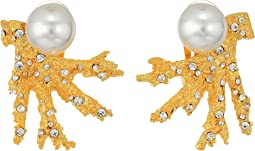 Kenneth Jay Lane - Satin Gold Branch w/ Crystal Dots and White Pearl Top Clip Earrings
