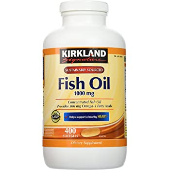 Kirkland Signature Natural Fish Oil Concentrate with Omega-3 Fatty Acids - 400 Softgels (Pack of 2)