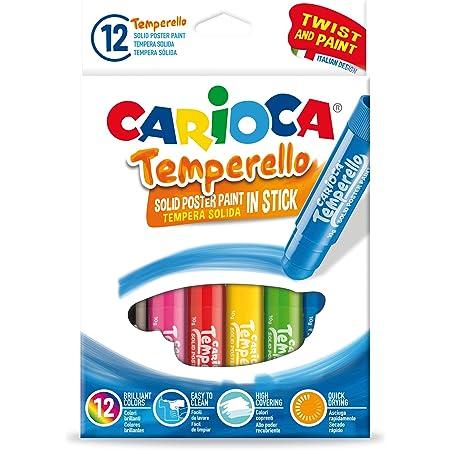 Carioca Témperas de Barra Temperello | Témperas Sólidas de Colores para Niños, Témperas Super Lavables, Colores Surtidos, 12 Uds