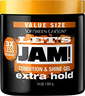 SoftSheen-Carson Let's Jam! Shining and Conditioning Hair Gel by Dark and Lovely, Extra Hold, All Hair Types, Styling Gel ...