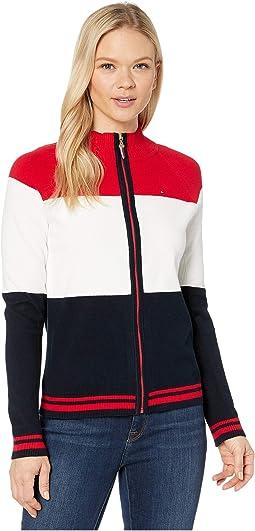 Side Flag Zip Mock Sweater