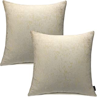 Booque Valley Throw Pillow Covers 20 x 20 inch, Pack of 2 Soft Thick Texture Jacquard Chenille Cushion Covers Square Pillow Cases for Sofa Bed Car Chair(Beige/Ivory)
