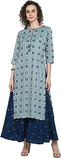 Janasya Indian Women's Turquoise Blue Rayon Ethnic Dress