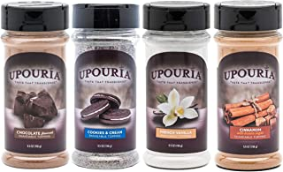 Upouria Coffee Topping Variety Pack - Chocolate, Cookies N Cream, French Vanilla and Cinnamon with Brown Sugar - 5.5 Ounce...