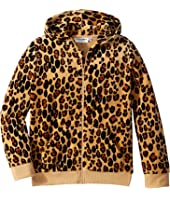 mini rodini - Leopard Velour Zip Hoodie (Infant/Toddler/Little Kids/Big Kids)