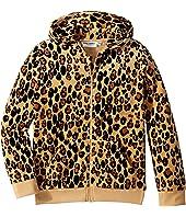mini rodini - Leopard Velour Zip Hoodie (Infant/Toddler/Little Kids/Big Kids)