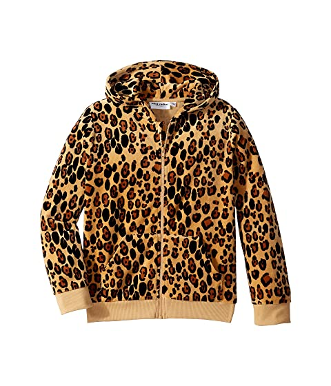 mini rodini Leopard Velour Zip Hoodie (Infant/Toddler/Little Kids/Big Kids)