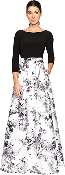 Adrianna Papell - 3/4 Sleeve Jersey Print Mikado Gown
