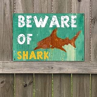 BEWARE of SHARK Vintage Rustic Retro Metal Sign 12 x 8 NEW VS380