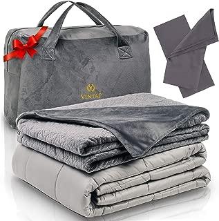 Vintap Adult King Size Weighted Blanket for Couples - 25 lbs 80x87, Best for King Sized Bed - Bonus Minky Duvet, 2 Bamboo Pillowcases & Soft Minky Handbag