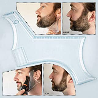 TECHSON Beard Styling Comb, Transparent Trimming Grooming Stencil, Crystal Clear Shaping Template Guide for Men, Male
