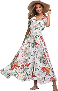 21fb4e9a90 VintageClothing Women's Floral Maxi Dresses Boho Button Up Split Beach  Party Dress