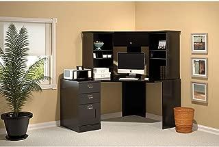 Bush Furniture Stockport Corner Desk with Hutch and 3 Drawer File Cabinet in Classic Black