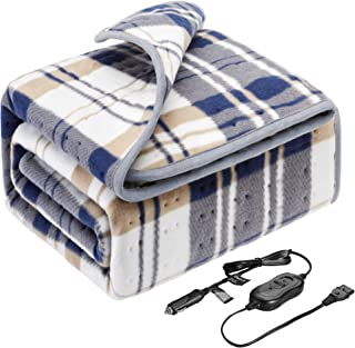 Elantrip 12 Volt Machine Washable Electric Heated Blanket for Car Vehicle Truck SUV, Plaid Fleece Heated Travel Blanket with Temp Controller (40x55 inch)