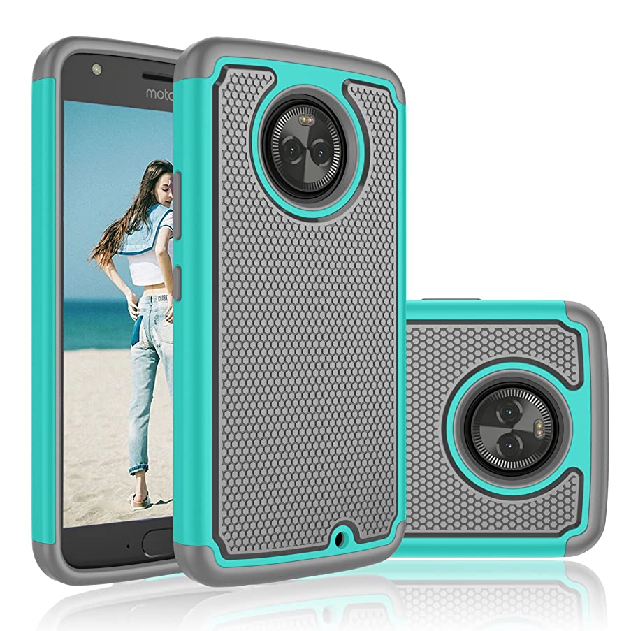 Moto X4 Case, Njjex [Nveins Series] Shock Absorbing Hybrid Dual Layers Anti-Scratch TPU Rubber Plastic Shell Impact Armor Defender Bumper Rugged Hard Case Cover For Motorola Moto X4 2017 [Mint/Grey]