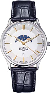Davosa Swiss Made Quartz Movement Men's Leather Strap Wrist Analog Watch Flatline Phase of Moon