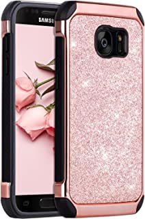 BENTOBEN Case for Galaxy S7, 2 in 1 Luxury Glitter Bling Hybrid Slim Hard Cover Laminated with Sparkly Shiny Faux Leather Shockproof Girl Women Protective Cover for Samsung Galaxy S7 (G930),Rose Gold