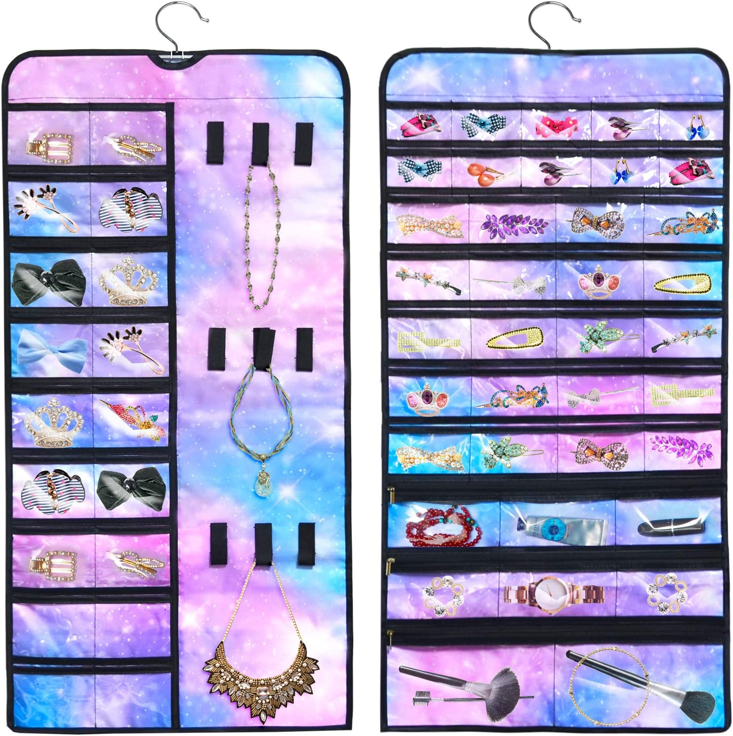 PASHOP Hanging Jewelry Holder Organizer Double Memphis Mall Side 56 Under blast sales w Pockets