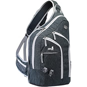 Plus Oversized Sling Backpack Men Women, Double Layers Crossbody Backpack Rope Strap Bag 28L, Fit for 14 Inch Laptop