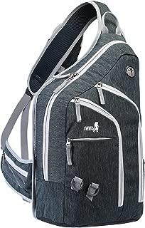 2-FNS Sling Rucksack, Brusttasche Schultertasche Sporttasche mit gepolsterten Laptopfach für Damen und Herren