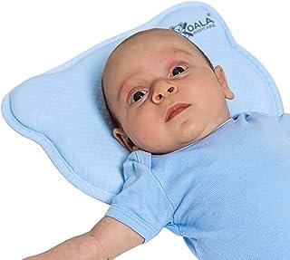 Babykissen Plagiozephalie, abnehmbar mit zwei Kissenbezügen, hilft ein Plattkopfsyndrom vorzubeugen und zu behandeln. Aus Memory Foam - Blau - Registriertes Design KBC