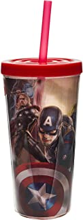 Zak! Designs Insulated Tumbler with Screw-on Lid and Straw, Avengers 2 Superhero Graphics, BPA-free Plastic, 16-ounce