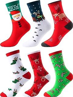 6 Pares de Calcetines de Navidad Calcetines Casuales de Fiesta Calcetines de Algodón Divertidos para Regalos Originales