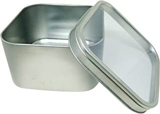 Square Metal Tin Box Storage Containers with Windowed Lids - 4x4x2.25 Inches, 16 oz. - Set of 2