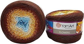 YarnArt Flowers 500 g Pelote de laine à tricoter 55 % coton Multicolore (marron/ocre, blanc, bleu 296)