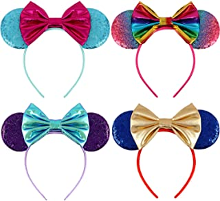 Mouse Ears Bow Headbands Glitter Mickey Rainbow Party Decoration Cosplay Costume Mermaid Minnie Ears Headband for Girls