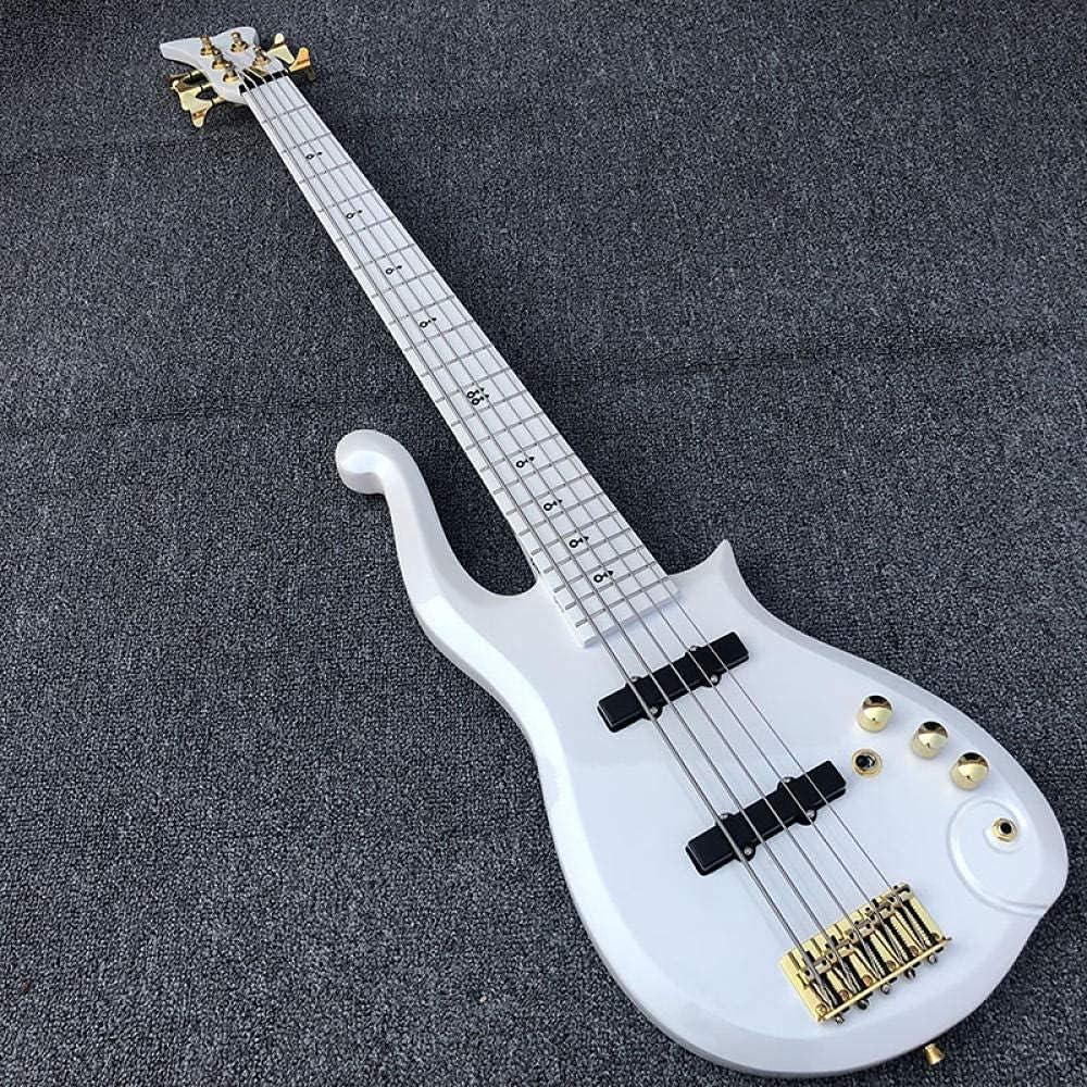 XLAHD Guitarra Bajo eléctrico Guitarra Blanca de 5 Cuerdas Guitarra acústica de Cuerdas de Acero Guitarra eléctrica (Color: Guitarra, Tamaño: 43 Pulgadas)