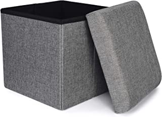 RONSTA Storage Ottoman, Foldable Cube Ottoman with Storage for Children, Foot Rest, Cloth Foot Stools and Ottomans with Memory Foam and Faux Linen Seat 12X12X12(Linen-Gray)
