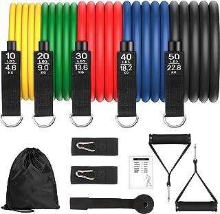 Bandas Elasticas Musculacion 150lbs Gomas Elasticas Fitness 100% Látex Natura con 5 Diferentes Niveles Antideslizante Y Du...