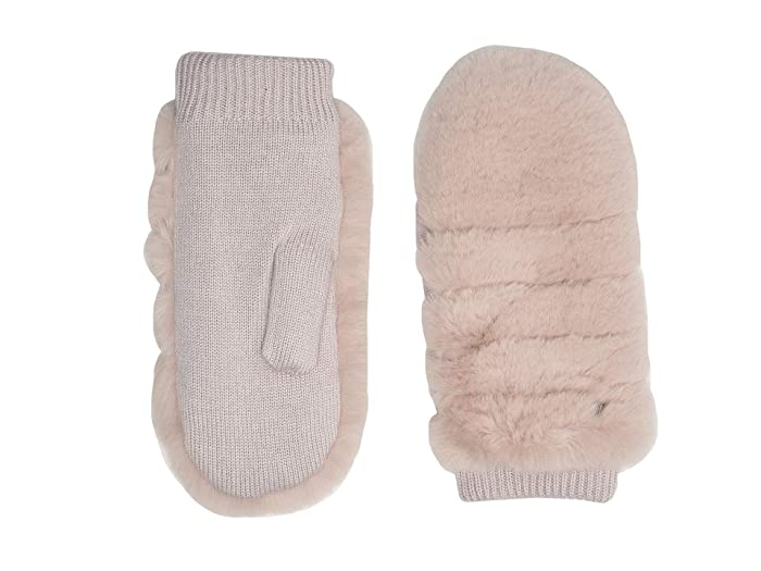 UGG  All Over Faux Fur Mitten with Sherpa Lining (Pink Crystal) Extreme Cold Weather Gloves