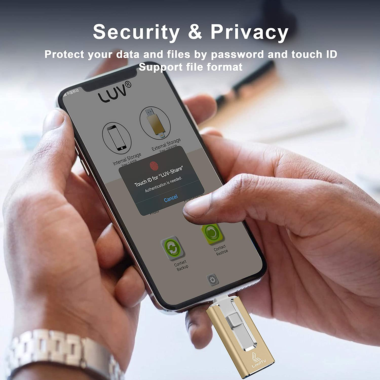 USB Flash Drive for Phone, 32GB 4 in 1 Memory Stick Looffy USB 3.0 Type C Thumb Drive for Photos, iOS Photostick Mobile External Storage Compatible with Phone/Pad/OTG Android/PC (Gold)