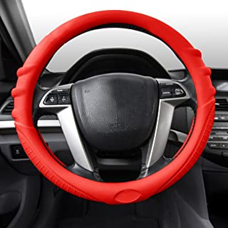 FH Group FH3003RED Red Steering Wheel Cover (Silicone W. Grip & Pattern Massaging grip Red Color-Fit Most Car Truck Suv or Van)
