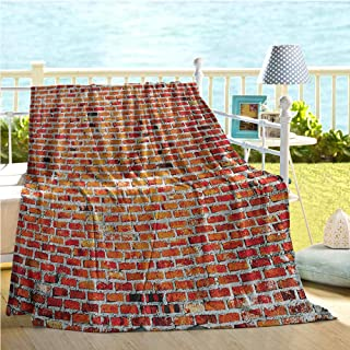 Mademai Rustic Home Decor Throw Blankets,Brick Wall with Decorative Bricks Grunge Style Rampart Pattern,Bed Blanket Tile Red Black White 40