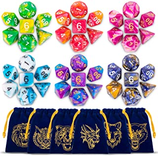 Polyhedral Dice Set with Blue Drawstring Pouchs, 6 Complete Double-Colors Dice Sets of D4 D6 D8 D10 D% D12 D20 Compatible with Dungeons and Dragons DND RPG MTG Table Games