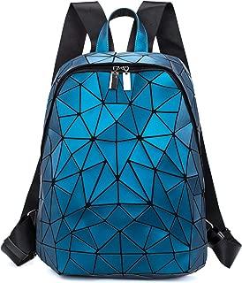Geometric Backpack Women Luminous Holographic Backpacks Reflective Shoulder Bag Lumikay Bag Fashion Daypack Blue