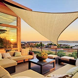 LOVE STORY 10' x 10'x 14' Right Triangle Sand Sun Shade Sail Canopy UV Block Cover for Outdoor Patio Garden Backyard