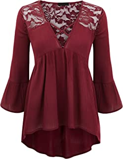 Womens V Neck 3/4 Sleeve Babydoll lace Blouse top