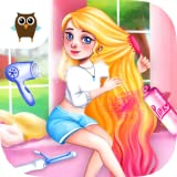 Play a crazy cute PJ sleepover party with Peach and her best friends Anna and Hazel! Wash, shampoo, dry, comb, curl and color hair for Peach! Do lovely Anna's makeup that matches her amazing blue hair! Dress up with Hazel & design your dream PJ party...