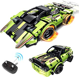 STEM Building Toys for Kids 2 in 1 Remote Control Car Racer Snap Together Engineering Kit Early Learning RC Race Car and O...