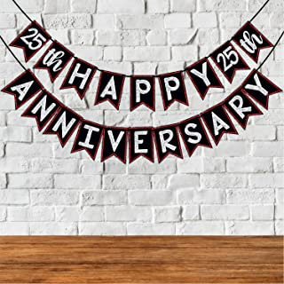 Wobbox 25th Anniversary Bunting Banner, Red Gliter & Black , Anniversary Party Decoration