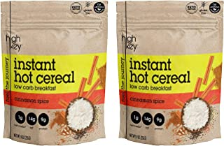 HighKey Instant Hot Cereal Breakfast,Cinnamon Spice Hot Cereal - KETO-CERTIFIED - GLUTEN FREE - LOW CARB 9oz- ( Pack of 2 )