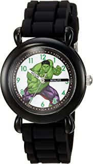 MARVEL Boys' Hulk Analog-Quartz Watch with Silicone Strap, Black, 16 (Model: WMA000029